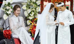 Thuận Nguyễn trao nhẫn cho 'cô dâu' Ngọc Trinh trên sàn diễn