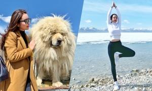 Hoa hậu Huỳnh Vy tập yoga ở hồ thiêng đẹp nhất Tây Tạng