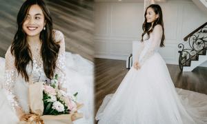 Hot blogger gốc Việt Alexandra Hoang thử váy cưới
