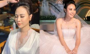Cô dâu Đàm Thu Trang chọn makeup tông cam ánh hồng
