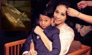 Đàm Thu Trang mang giày Lọ Lem 5.000 USD trong tiệc cưới