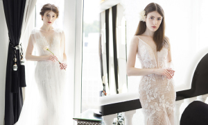 Váy cưới mang phom dáng gọn gàng cho cô dâu mùa thu