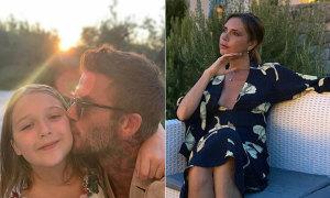 Becks hôn má con gái, Vic mỉm cười thư giãn trong kỳ nghỉ ở Italy