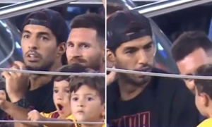 Con trai Messi hô vang khi Barca bị thủng lưới
