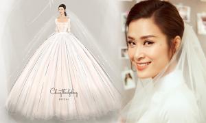 Phác thảo 2 váy cưới của Đông Nhi