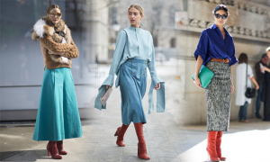 Phối chân váy và bốt mùa thu đông