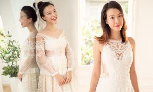 Á hậu Hoàng Oanh thử váy cưới