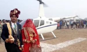 Chú rể dùng trực thăng rước dâu cách nhà 35 km