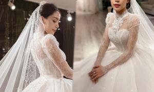 Váy cưới lấy cảm hứng từ Grace Kelly của cô dâu Hà Nội