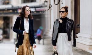 Phối các kiểu áo khoác với chân váy midi