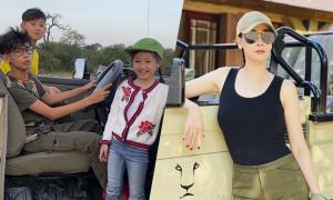 Hà Kiều Anh đưa ba con đi Nam Phi