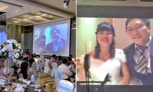 Cô dâu chú rể đón khách qua livestream