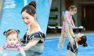 Mẹ con Lan Phương đi bơi giữa mùa dịch
