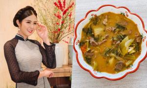 Cơm nhà sao Việt 15/4: Ngọc Hân nấu canh dưa bò