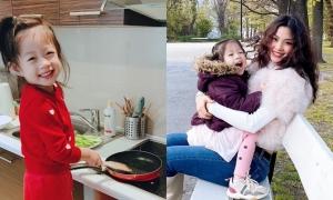 Á hậu Diễm Trang đưa con gái vào kỷ luật khi kẹt ở Ba Lan