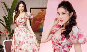 Hồ Ngọc Hà và dàn người đẹp đua sắc với váy hoa thược dược