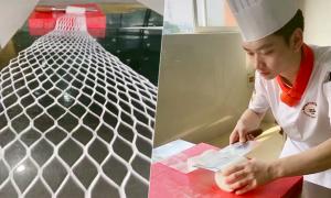 Màn 'ảo thuật' thái củ cải thành lưới đánh cá