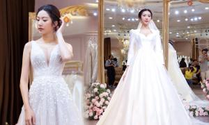Thúy Vân thử 3 váy cưới