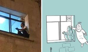 Con trai ngồi cửa sổ bệnh viện theo dõi bệnh tình của mẹ