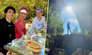 Phương Linh, Uyên Linh, Quốc Thiên trekking hang Tiên
