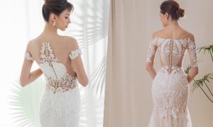 Lưng váy cưới xuyên thấu của Trương Thanh Hải