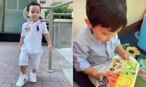 Con trai Phạm Hương đi học mẫu giáo