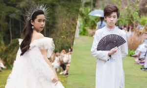 Hoa hậu nhí Bella Vũ diễn thời trang cùng anh trai