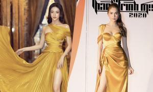 Sao Việt tôn dáng bằng đầm vàng gold