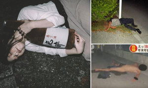 Cảnh sát Nhật khổ sở vì 'sâu rượu' ngủ trên đường