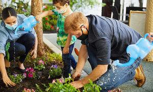 Vợ chồng Harry trồng hoa tưởng niệm ngày mất của Diana