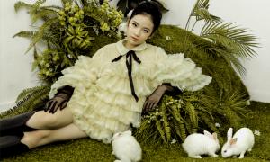 Mẫu nhí Bảo Hà chụp ảnh cùng thỏ