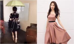Hòa Minzy đi guốc cao 23 cm