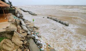 Kè biển 35 tỷ đồng đổ sập trong lũ