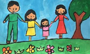 Khung cảnh gia đình qua nét vẽ của bé