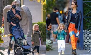Irina Shayk và con gái thời trang trên phố mùa thu