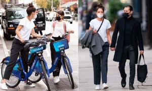 Katie Holmes dạo phố cùng con gái và bồ trẻ
