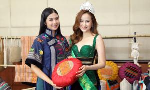 Khánh Ngân, Ngọc Hân diện trang phục thổ cẩm đi sự kiện