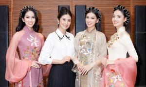 Ngọc Hân giới thiệu áo dài tại chung kết Hoa hậu VN