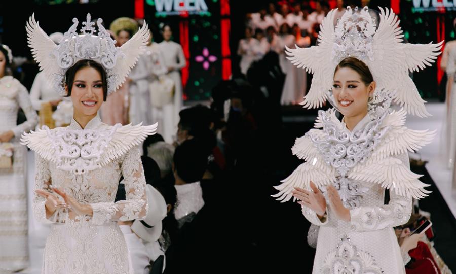 Minh Tú, Khánh Vân hóa cô dâu quyền uy trên sàn diễn