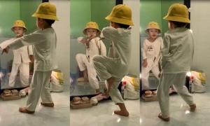 Bé 4 tuổi nhảy điệu nghệ trước gương