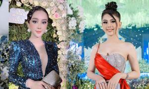 Lâm Khánh Chi liên tục 'chặt chém' khi dự cưới