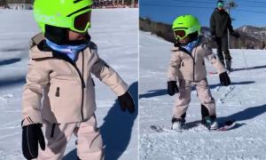 Con gái 3 tuổi của Kylie Jenner thích thú trượt tuyết