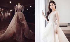 Váy cưới 'phát sáng' đính hàng trăm nghìn viên pha lê