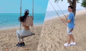 Văn Lâm và bạn gái đi biển giữa lùm xùm với Muangthong