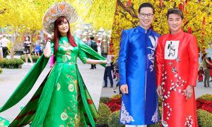 Hiền Mai diện áo dài nặng 20 kg cùng dàn sao dự Lễ hội Tết
