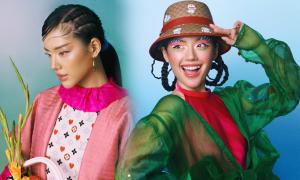 Khánh Linh phối đồ hiệu với trang phục truyền thống