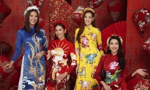 Hoa hậu, á hậu Hoàn vũ Việt Nam diện áo dài chúc Tết