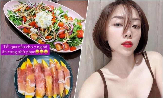 Tóc Tiên nấu tiệc kiểu Tây đãi nhà Lưu Hương Giang dịp cuối năm