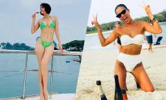 Thu Minh, Bằng Lăng đùa nghịch trên bãi biển Singapore