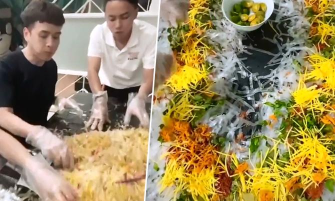Hồ Quang Hiếu trộn một bàn bánh tráng 'siêu to khổng lồ'